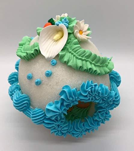 Handcrafted Easter Sugar Egg Decoration - Large Decorative Panoramic Sugar Egg Blue