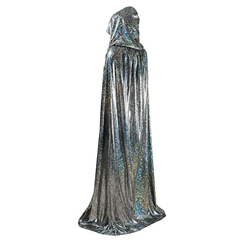 OurLore Unisex Full Length Hooded Cape Halloween Christmas Adult Cloak (Large, Silver)
