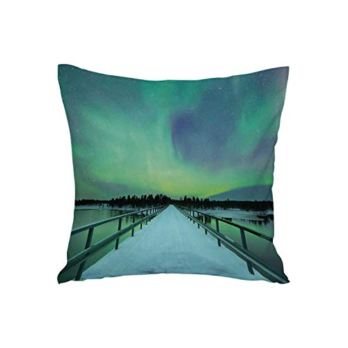 Northern Lights Soft Car Waist Throw Cushion,Long Mystic Sky Over Bridge in Snowy Arctic Frozen River Image for Car,15