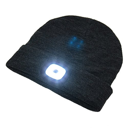 - BEAMie Hat With Built-In Rechargeable LED Head Lights (Charcoal)