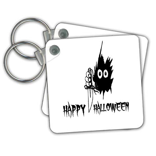 Alexis Design - Funny Monster Eyes - A monster eyes in black hole. A knife. The text Happy Halloween - Key Chains - set of 2 Key Chains (kc_290580_1)