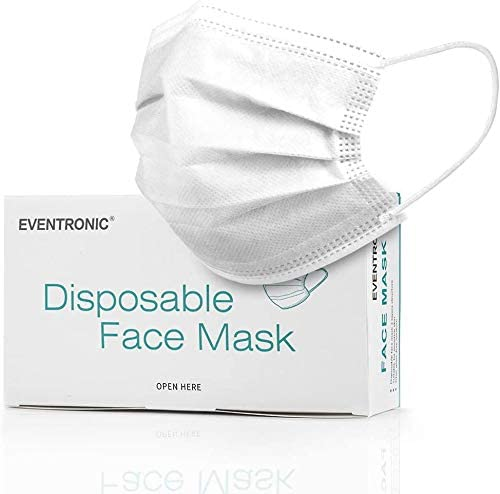 Disposable Face Masks 50 Pack, Eventronic 3 Ply Breathable Face Masks with Comfortable Elastic Ear Loop For Adults Men Women Teens (White)
