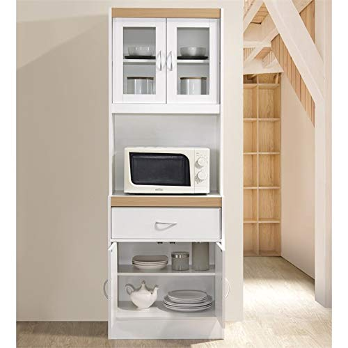 Pemberly Row Tall 24'' Wide China Kitchen Cabinet with Microwave Storage in White by Pemberly Row (Image #2)