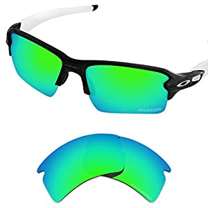 Tintart Performance Replacement Lenses for Oakley Flak 2.0 XL Sunglass Polarized Etched-Emerald Green