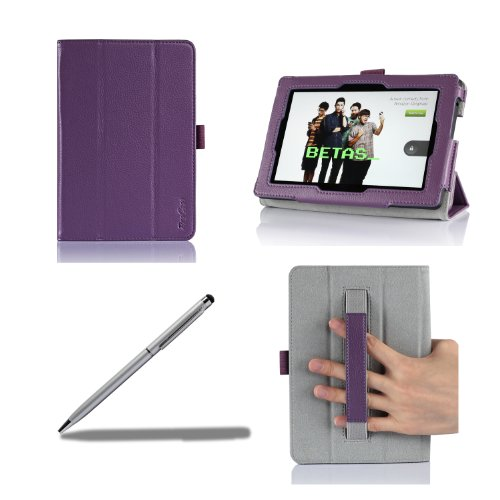 ProCase Previous 2013 Kindle Fire HD 7 Case with bonus stylus pen - Tri-Fold Leather Stand Cover for Previous Generation Kindle Fire HD 7 inch Tablet (will only fit New Kindle Fire HD 7 2013 released, 3rd Gen HD 7) (Purple)