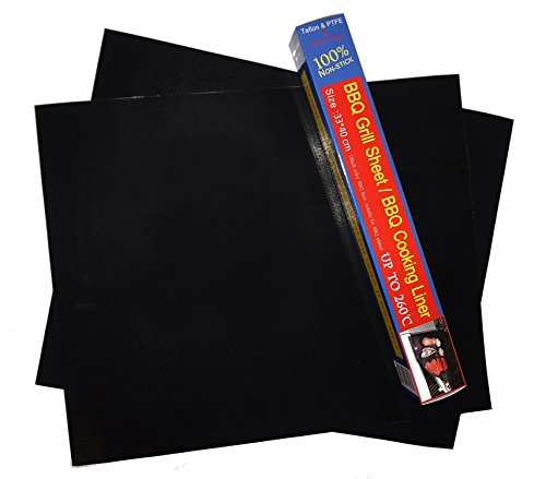 Feriwola BBQ Grill Mat as Seen on TV, Non-Stick Oven Cook Mats, Made with Teflon, Set of 2 Sheets