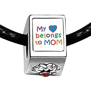 Chicforest Silver Plated Mother's Day Theme My heart belongs to Mom Photo Red Siam Crystal January Birthstone Flower Charm Beads Fits Pandora Charm