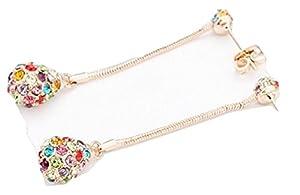 Multicolored Shamballa Crystal Ball Dangle Earrings