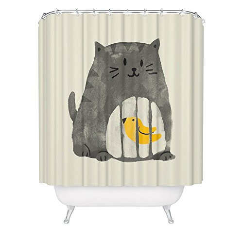 Cat Shower Curtain Cute Funny Kitty Bird Cage