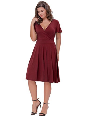 Hanna Nikole Women's Classy Retro Dress for Cocktail Party V-Neck Red Plus Size 3X
