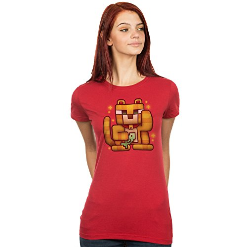 Price comparison product image Minecraft Women's Lucky Ocelot T-Shirt (Blood Red, X-Large)