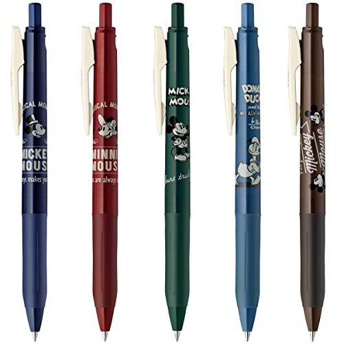 - Disney Sarasa Clip 0.5 Retractable Gel Ink Pen, Rubber Grip, Vintage Colors, Set of 5