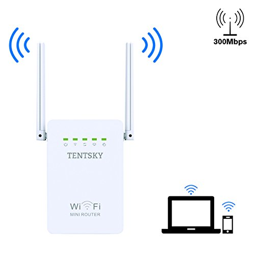 WiFi Signal Booster, Tentsky Wireless Repeater 300Mbps WiFi Signal Amplifier Supports Repeater/Access Point/Router Mode with 2 External Antenna