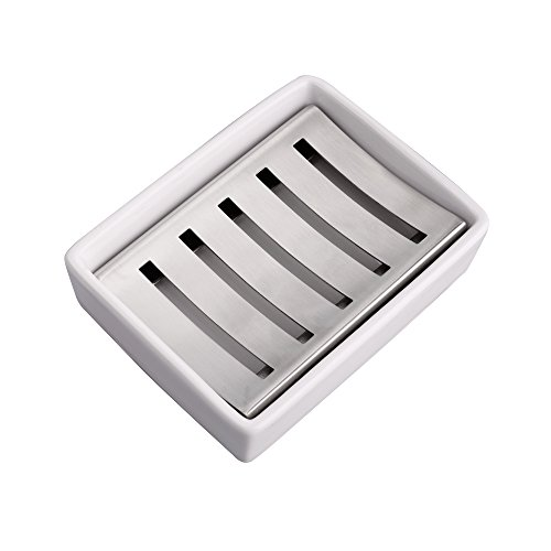 IMEEA Ceramic Soap Dish SUS304 Stainless Steel Soap Holder for Barthroom Shower Double Layer Draining Soap Box (Rectangle) by IMEEA