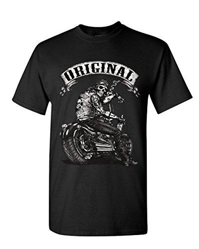 Route 66 Motorcycle (Original Biker Skull T-Shirt Ride or Die Route 66 Motorcycle MC Mens Tee Shirt Black XL)