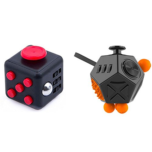 Xinzistar 2 Pcs Fidget Dice II Dice I Stress Release Office Toys Set for Children Adult Black 03
