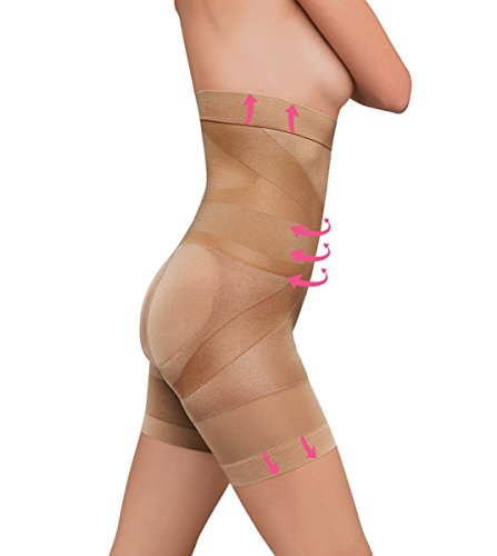 ShapeOn 1001 Women's Ultra-Thin Breathable 16 Feature Body Shaper Girdle 24hr Comfort Shapewear M Nude