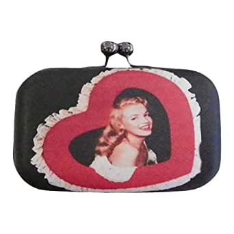 Schakespeare Monroe Style Clutch for Women - Nylon, Black and Red