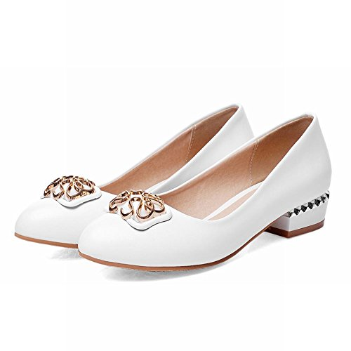 Latasa Mode Féminine Ronde-toe Chunky Bas-talon Décontracté Chaussures Chaussures Blanc