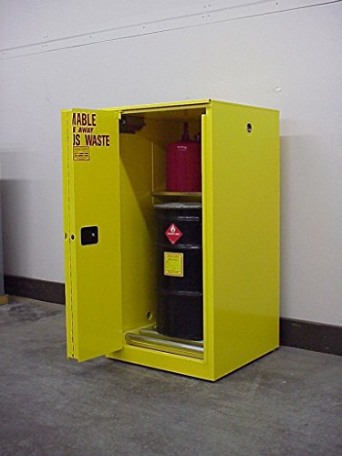 SECURALL W3060 Hazardous Waste Flammable Storage Cabinet, 18-Gauge Steel, 60 Gal Cap, 2 Self-Close Self-Latching Safe-T-Doors, 2 Adj Shelves, 67 x 31 x 31, FM Approved, 15 YR Warranty, OSHA Reg-Yellow