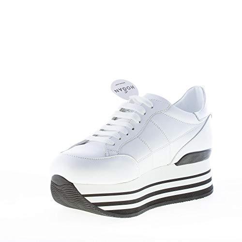 Hogan in Bianco Bianco Pelle impunturata H222 con Maxi H Donna Sneaker rTI7rq