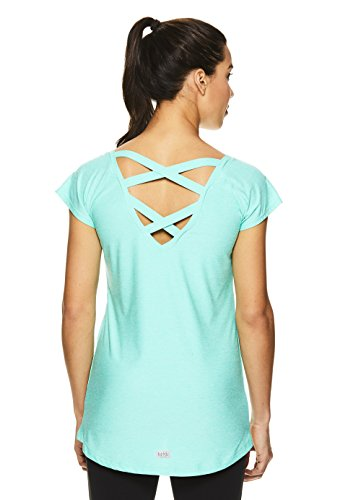 Nicole Miller Active Women's Criss Cross Back Workout Cap T-Shirt - Strappy Open Back Gym Top - Cockatoo Heather Turquoise, Small (Nicole Spandex Tunic)