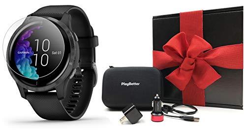 Garmin Venu (Black/Slate) Fitness GPS Smartwatch Gift Box Bundle   +HD Screen Protectors, Car/Wall Adapters & Hard Case   All-Day Tracking, Wrist-Based HR, Music, Spotify, AMOLED Display
