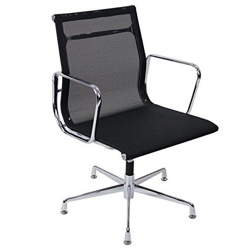 イームズアルミナムチェア ローバックチェア メッシュ ブラック 固定脚 肘掛け クロムメッキ クロームメッキ 回転 高さ固定 オフィスチェア ミーティングチェア 椅子 いす イス チェアー 会議室 書斎 黒 1033mbk   B01M6Y9D24