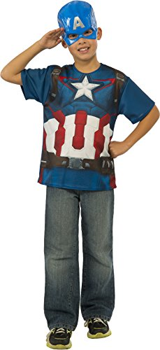 Halloween Costumes Ideas For 2 Friends (Rubie's Costume Avengers 2 Age of Ultron Child's Captain America T-Shirt and Mask, Medium)
