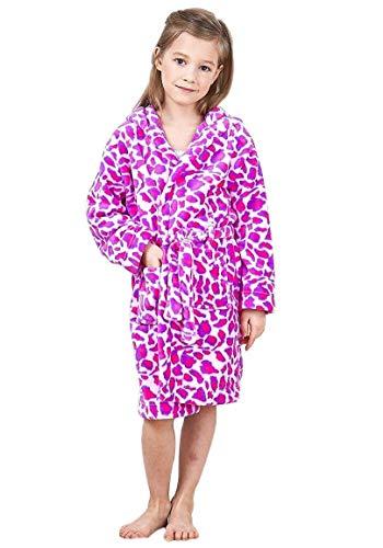 JuneBloom Girls Hot Pink Leopard Print Fleece Hooded Bathrobe for Kids 3-4 Years Old