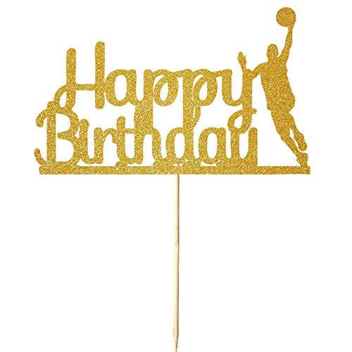 Golden Flashes Basketball - NN-BH Golden Flash Happy Birthday Cake Topper, Birthday Party Cake Decoration, Sports Theme Cake Topper (basketball)