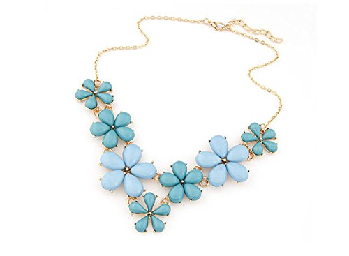 [HYYIdealism New Fashion Costume Jewelry Rope Chain Crystal Wood Flower Choker Statement Necklace for Women Ladies' Lovers] (Costumes Jewelry Supplies)