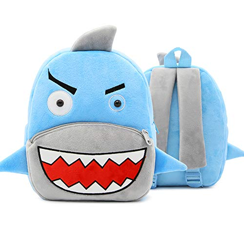 Price comparison product image DLSEEGO Cute Toddler Backpack, Cartoon Cute Animal Plush Backpack Toddler Mini School Bag for Kids Age 2-5 Years Old(Shark)