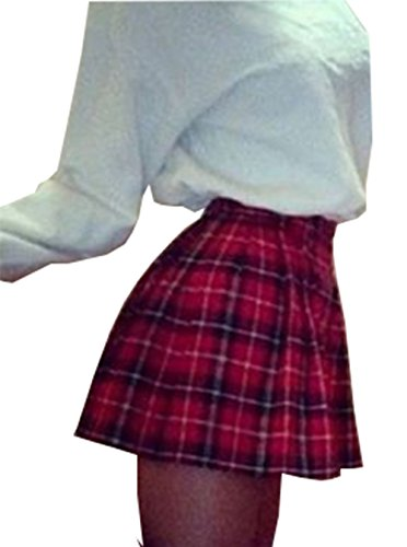 Check Mini Skirt (Women High Waist Skater Flared Red Check Plaid Pleated Short Mini Skirt (US 8, Red))
