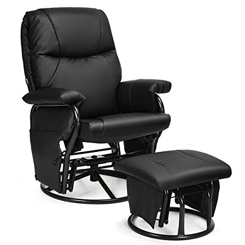 Giantex Glider Recliner with Ottoman, Swivel Glide Rocking Chair with Footrest Stool, PU Leather Lounge Armchair, 360 Degree Swivel Overstuffed Padded Seat Chair (Black)