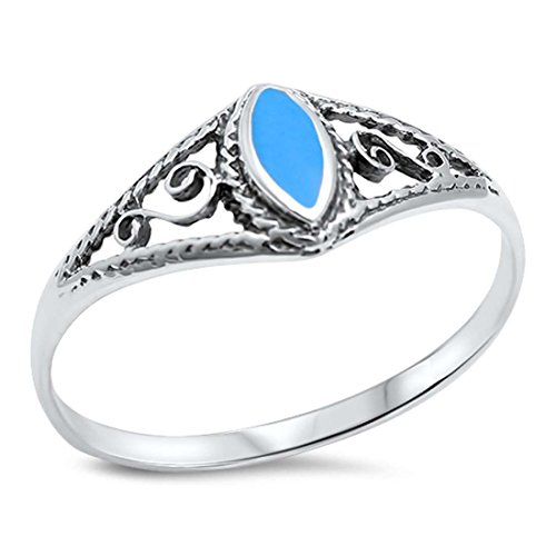 Filigree Design Wedding Inlay Swirl Ring Marquise Shape Simulated Blue Turquoise 925 Sterling Silver