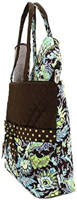 756cb7c88a Belvah Brown and Lime Quilted Floral 3 Pc Diaper Bag. Belvah Brown and Lime  Quilted Floral 3 Pc Diaper Bag