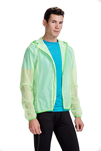 (CYZ Men's Ultralight Wind Shell Water Proof Running Jacket - Bike Jacket-Neongreen-M)