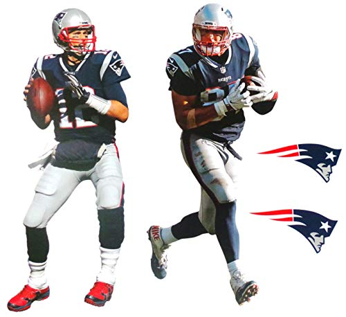 - FATHEAD Tom Brady and Rob Gronkowski Mini Graphic + New England Patriots Logo Official NFL Vinyl Wall Graphics - Each Player 7