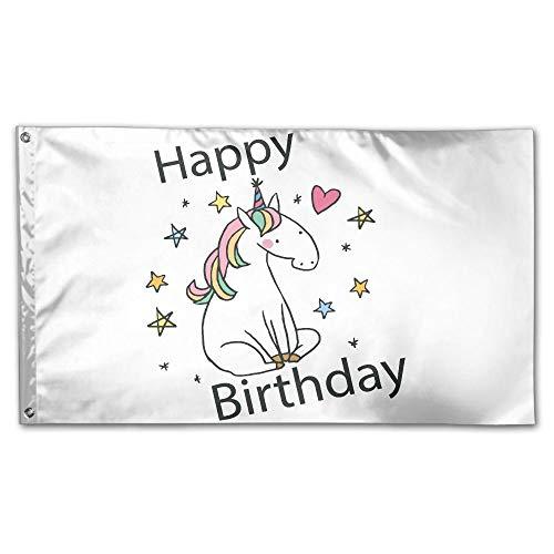 YUANSHAN Home Garden Flag Birthday Unicorn Polyester Flag In