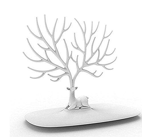 PuTwo Jewelry Holder/Organizer Stand Display Tree, White Deer 601420324785