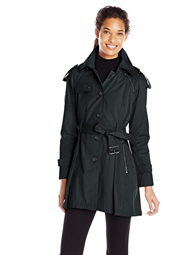 French Connection Women's Single Breasted Trench with Pleated Back, Black, X-Large