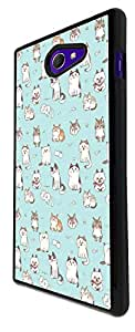 1186 - Funny Playfull Multi Cats Collage Blue Design For Sony Xperia M2 Fashion Trend CASE Back COVER Plastic&Thin Metal - Black