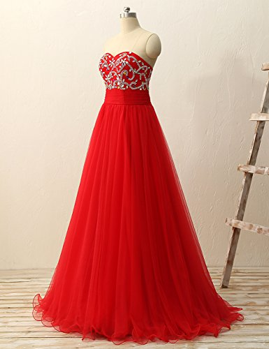 Gown Dresses Gown Long Strapless Prom Red Dress Ball Quinceanera Tulle JAEDEN tXgAw