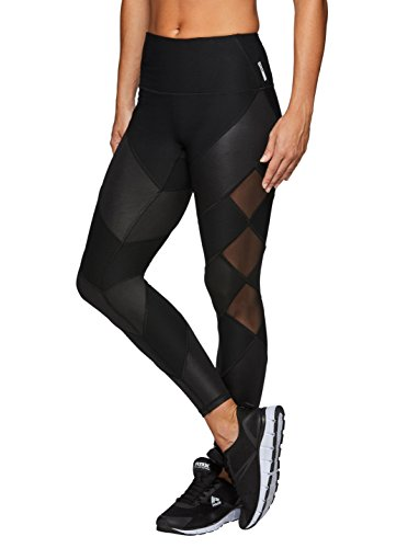 RBX Active Womens Workout Leggings with Mesh Black L