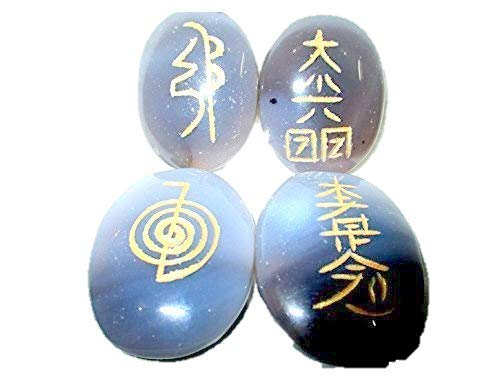 Blue Lace Agate Oval Usui Reiki Healing Set Chakra Balancing Meditation Gemstone Spiritual Energized Positive Mental Peace Prosperity Growth Bonding Relationship De-stress Anxiety Reduction Massage Crystal Therapy Psychic Gift Anniversary Holistic Metaphysical Love India Asia Divine Quality A+ Pouch