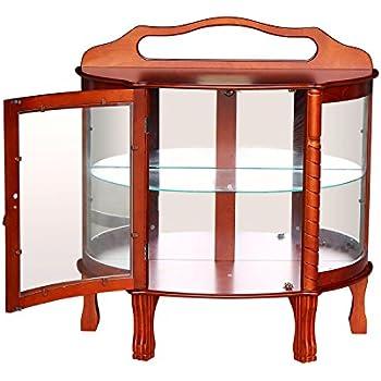 Yontree 6 Glass Elegant Door Curio Cabinets Antique Cabinet Storage Cabinet  Hallway Desk Table (Wood Color)  36x15.5x38.5 In.