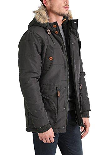 Parka Fur Faux Capuche Ebony 75111 Longue Manteau Polygamma Grey Homme Blend D'hiver Veste Avec À Pour w48Yqx0