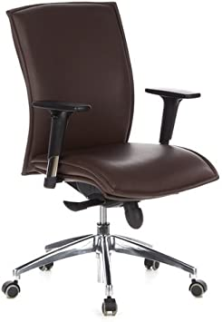 hjh OFFICE 600140 silla ejecutiva MURANO 10 cuero marrón oscuro con brazos sillón de oficina con ruedas silla giratoria