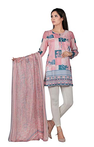(YELLOW Mid Length Kurti with high-Low Hem Mixed Tribal Geometric Digital Print Ready to wear Apricot Blush)